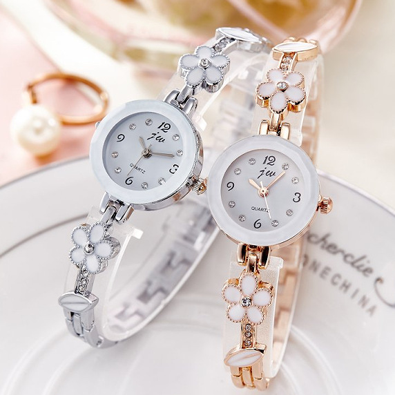 2017 New Fashion Quartz Watch Women Clock Luxury Brand JW Crystal flowers Bracelet watches Ladies Casual Dress Wristwatches Gift 2016 new arrive fashion and casual ladies watches silver bracelet luxury crystal watch oem round ultra slim dress quartz watches