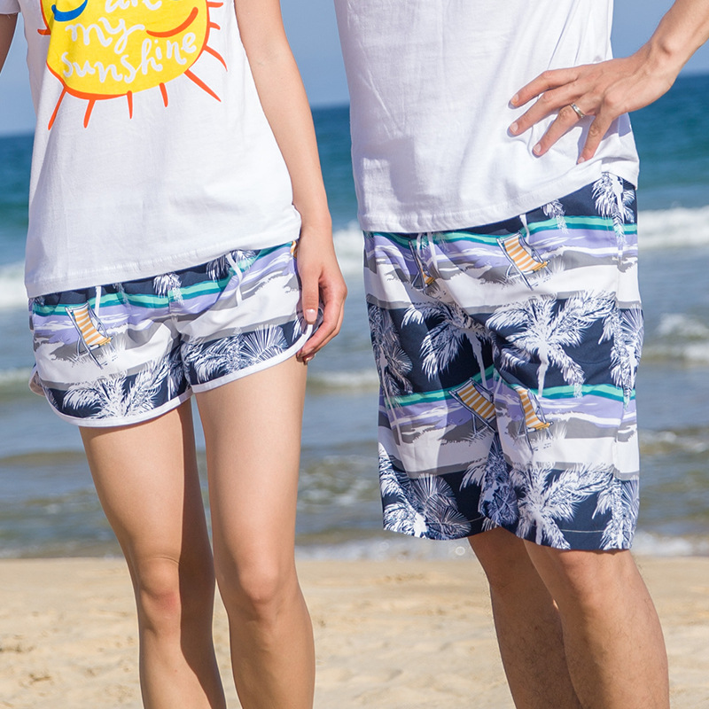 Quick Dry Beach   Shorts   Men & Women Clothing Swimwears Lovers Boardshorts Racket Couples   Board     Shorts