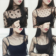 Women Sexy Hollow Out Mesh Tops Ladies Net See Through T Shirt Transparent Under