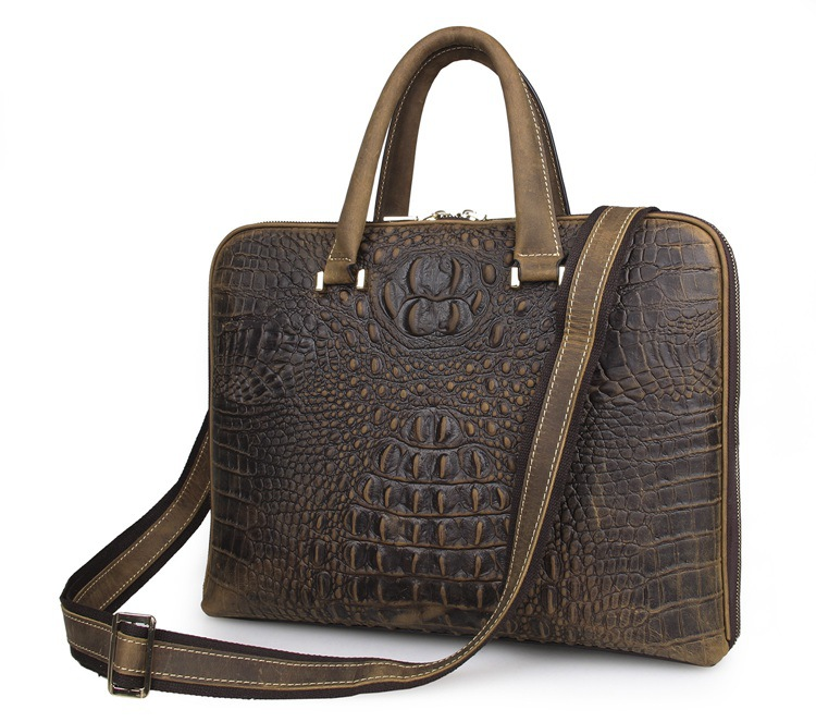 Vintage Crocodile Alligator Pattern Genuine Leather Men Messenger Bags Cowhide Briefcase Portfolio 14 Laptop Handbag VP