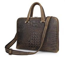 Vintage Crocodile Alligator Pattern Genuine Leather Men Messenger Bags Cowhide Briefcase Portfolio 14″ Laptop Handbag #VP-J7298