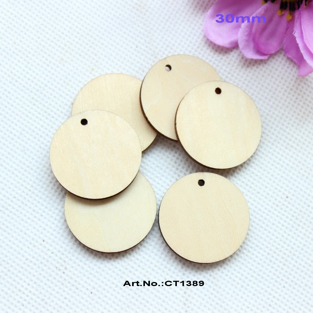 Wooden circles for crafts -  150pcs Lot 30mm Unfinished Round Circle Wooden Disks With Holes Supplies Cut Outs Wood Crafts 1 1 4 Ct1389a