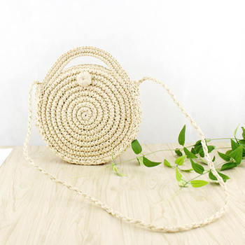 Circle Rattan Beach Bag Summer Mini Vintage Handmade Crossbody Straw Bag