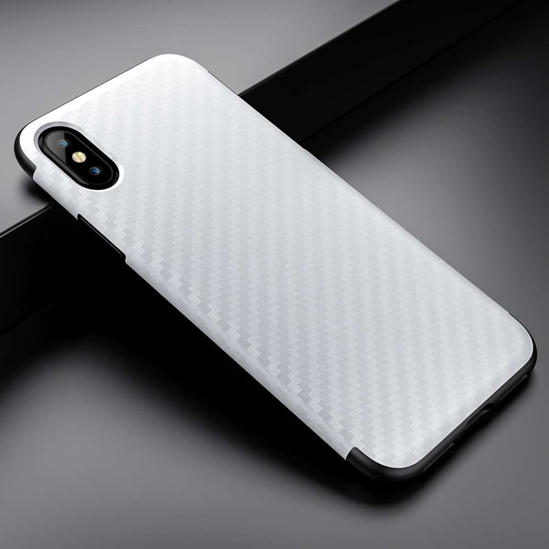 Roybens For iPhone X Case Luxury Carbon Fiber Soft TPU Silicone Thin Texture Case Funda For Apple iPhone X 10 Skin Cover Coque