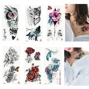 Image 4 - 110pcs/lot Fake Women Men DIY Henna Body Art Tattoo Design  Butterfly Tree Branch Vivid Temporary Tattoo Sticker
