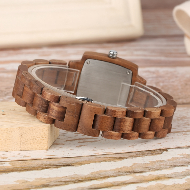 Retro Wood Women Watch Unique Square Circle Dial Design Full Wooden Bracelet Woman Ladies Clock Quartz Wristwatch dames horloges 2019 2020 2022 (6)