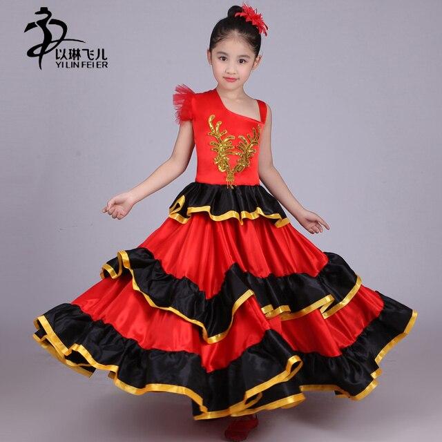 7b4591edc Kids Flamenco Skirt 360 540 720 Spanish Senorita Flamenco Dancer ...