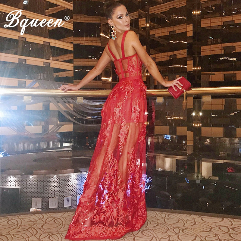Bqueen Women Bandage Dress Sexy Solid Hollow Out Lace Straghetti Strap Backless Floor Length Party Dress