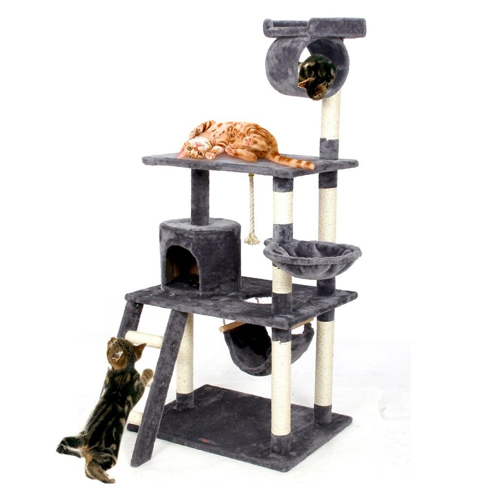 Внутренние поставки Cat скалолазание, прыжки дерево царапин дерево Рамки Кошка играет подготовки продукта Котенок Дом Гамак Кошка для удово