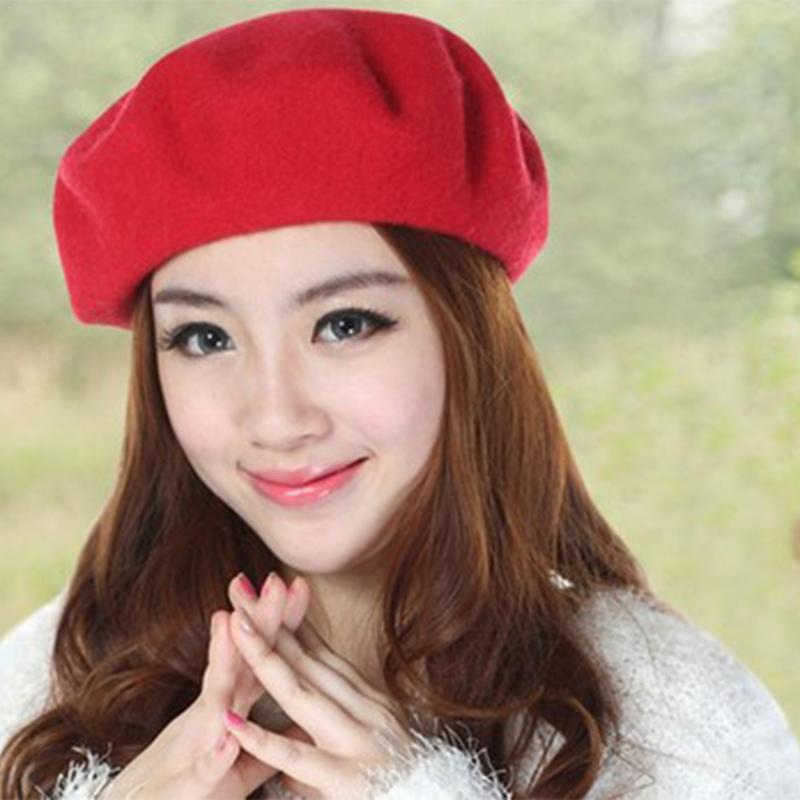 2018 New Womens Winter Hat Beret Female Wool Cotton Blend Cap 16 Color New  Woman Hats Caps Black White Gray Pink Boinas De Mujer-in Berets from  Apparel ... afc48feeb83f