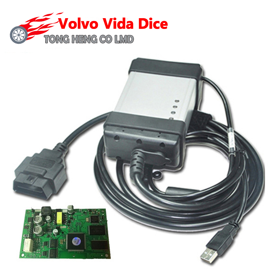 Factory price newest version 2014d vida dice for volvo professional universal diagnostic tool for volvo with green board in code readers scan tools from