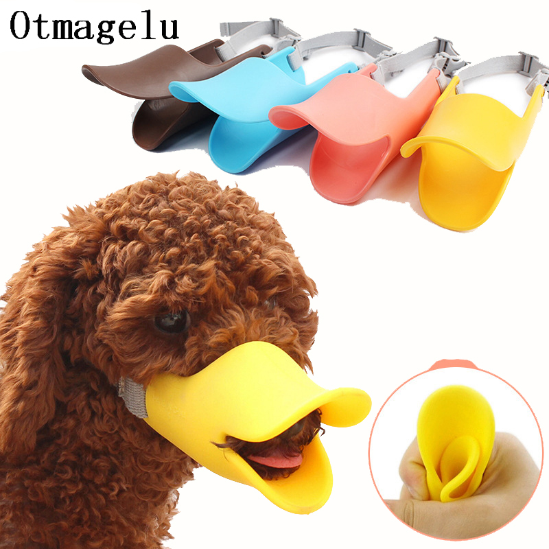 Silicone Dog Muzzle Collars Cute Duck Mouth Mask Muzzle Stop Barking Small Dog Anti-bite Masks For Dog Products Pets Accessories