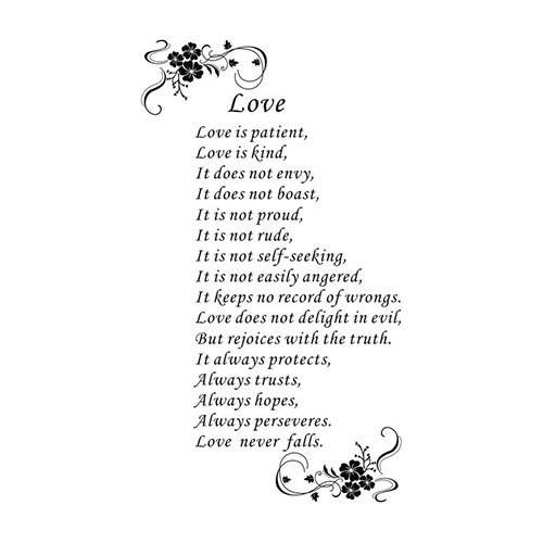 love is patient poem removable pvc sticker decal home room decor diy