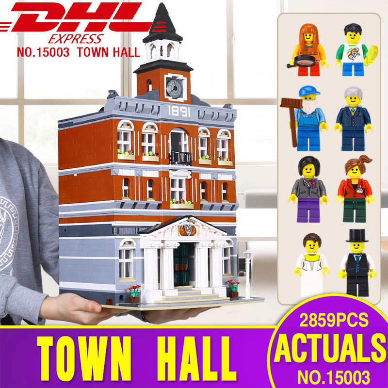 LEPIN 15003 Genuine 2859Pcs The town hall Model Building Blocks Kits Toy Gift Compatible With Gift Legoing 10224 for children free dhl shipping lepin 15003 new 2859pcs creators the town hall model building kits blocks kid toy gift