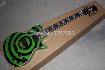 Precio de fábrica superventas 6 cuerdas EMG recogida g-lp zakk Wylde  BullsEye verde y negro círculo eléctrico Guitarras envío libre a27643dad03