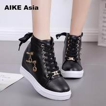 Women Wedge Platform Rubber Brogue Leather Lace Up High heel 6 cm Shoes Pointed Toe Increasing Creepers White Sneakers Zipper 66(China)