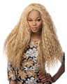 28inch sexy heat resistant synthetic fiber long blonde corn hair, afro kinky curly wig for black women with free wig cap