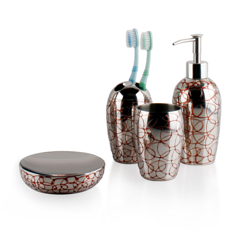 SUS304 Stainless Steel Bathroom Wash Set Red Wax Painting Holder Bathroom Toothbrush Cup Bathroom Sets image