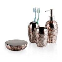 SUS304 Stainless Steel Bathroom Wash Set Red Wax Painting Holder Bathroom Toothbrush Cup Bathroom Sets