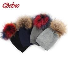 Geebro ベビービーニー帽子秋のウール Skullies ビーニーとアライグマの毛皮のポンポン新生児少年少女だらしないリアルポンポン帽子