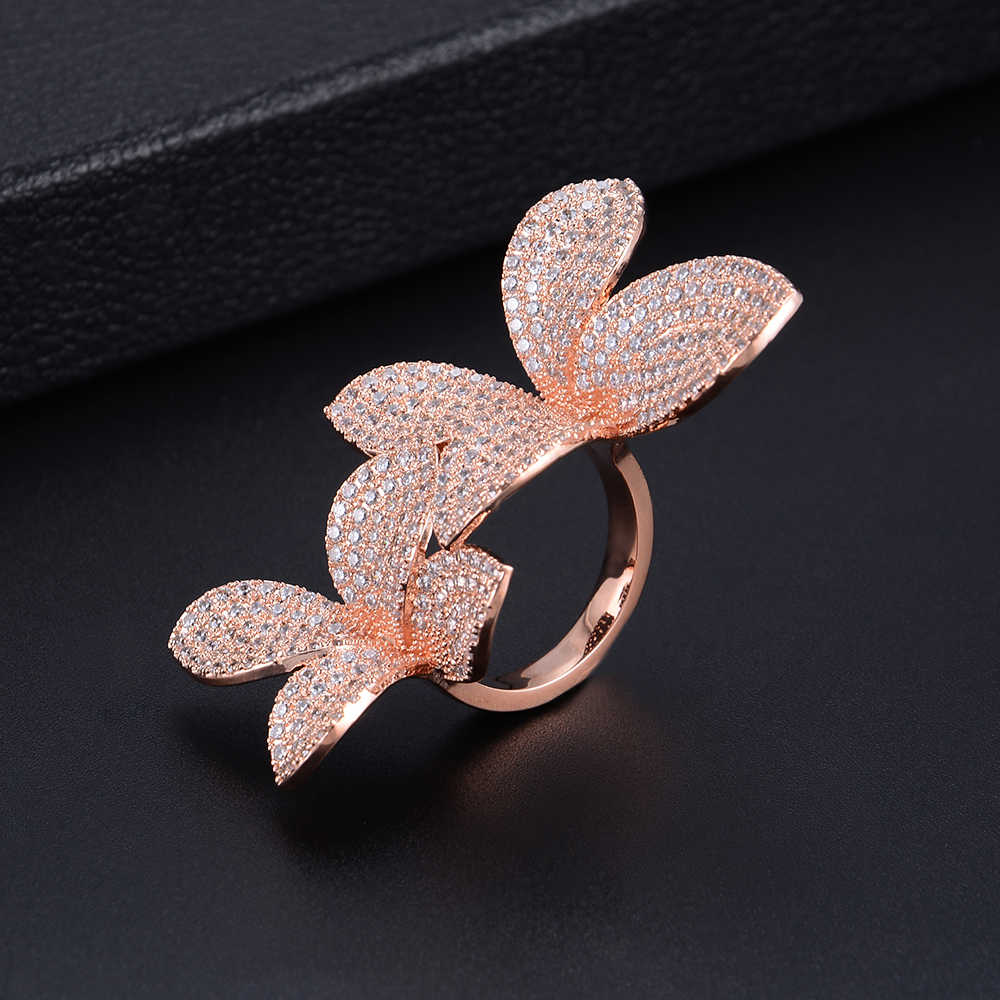 Luxury Plant Flower Shape Adjustable Rings Cubic Zirconia Engagement Bridal Finger Rings Jewelry Addiction For Women