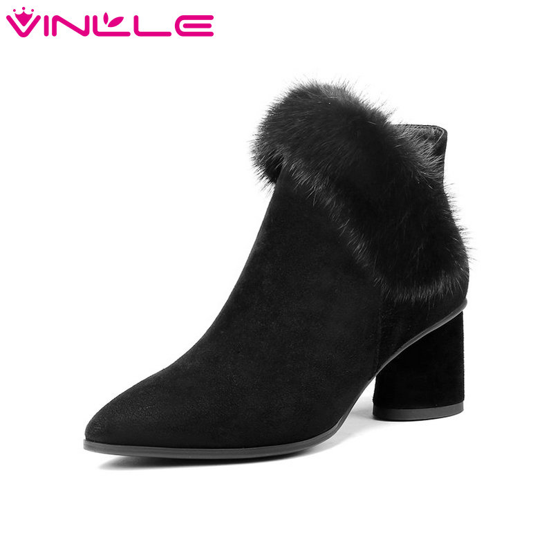 VINLLE 2019 Women Ankle Boot Cow Suede Fashion Women Shoes