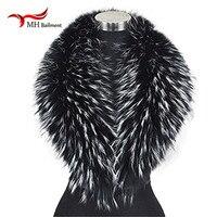 Verdadero grande 100% Bufanda Del Mantón Del Abrigo de Cuello de Piel de Mapache Cuello de Piel Auténtica Real Gran L #22