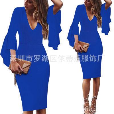 Сексуальные коктейльные платья с v-образным вырезом, Короткие вечерние платья с длинным рукавом, платье длиной до колена, коктейльное повседневное облегающее платье с оборками - Цвет: Sapphire Blue