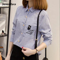 Free Shipping Students Style Cartoon Embroidery Peter Pan Collar Long Sleeve Stripe Woman Cotton Blouse