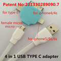 4 in 1 USB TYPE C adapter Applicable to asamsung galaxy note 5 tab 2 7 charger clone phone usb cable headphones beatsstudio dre