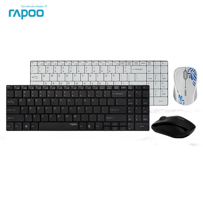 Original Rapoo 9060 Keyboard and Mouse Set Ultra Thin 2.4G Wireless Optical Keyboard and Mouse Combos for PC Laptop original 2 4g optical wireless keyboard