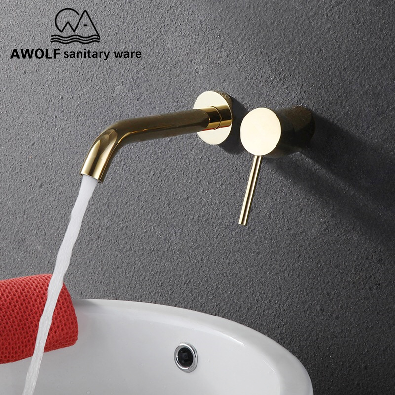 Bathroom Wall Mounted Spout Solid Brass Basin Faucet Tap Shiny Light Gold Bathtub Shower Mixer Spout