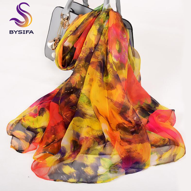 [BYSIFA] Women Long Scarves Winter Fashion Accessories 100% Silk Scarf Spring Autumn Brand Yellow Red Ladies Thin Silk Scarf
