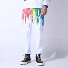 Rainbow Drips Print White Pants 3D Oil Painting Funny Printed Sweatpants Men Women Fashion Joggers Trousers