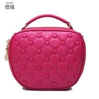 2017 New Casual Women Shoulder Bags Famous Brand Fashion Designer Handbag Solid pu Leather Bag Totes Bolsos Mujer hot pink/grey