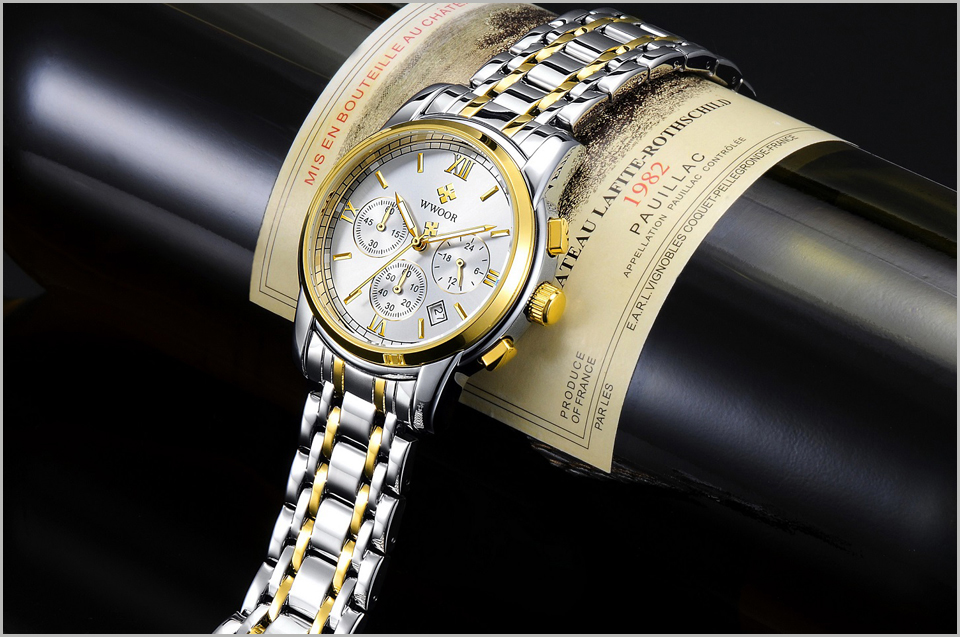 New Gold Quartz Wristwatch Men Watches Top Brand Luxury Stainless Steel Male Wrist Watch Golden Clock Relogio Masculino (9)