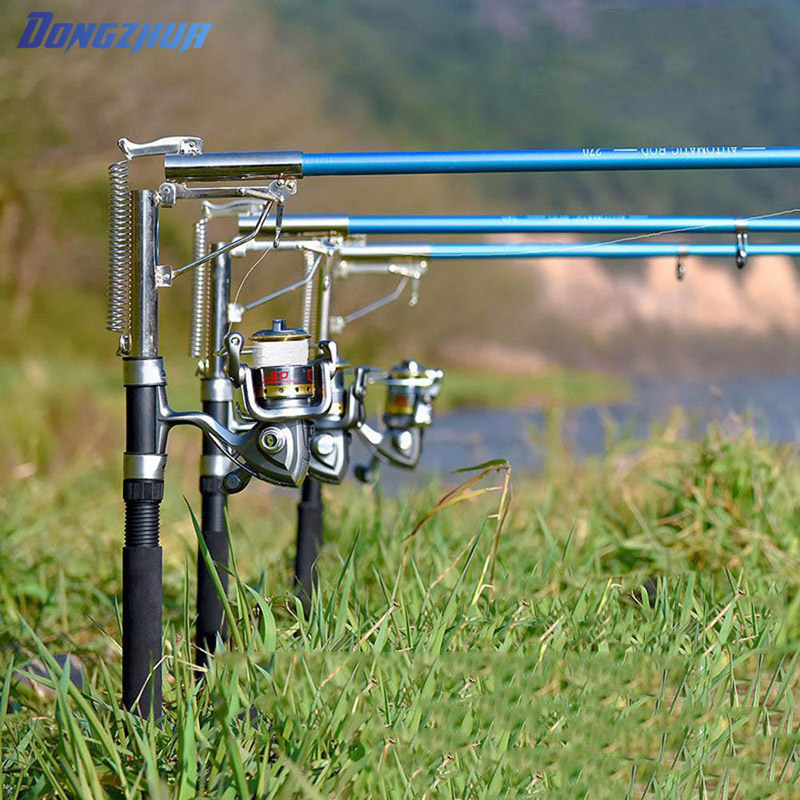 stainless steel automatic fishing rod mount spring sensitive telescopic high quality sea river lake holder stand machine stainless steel adjustable single spring automatic fishing rod pole bracket max tension 50kg sea fishing rod stand holder