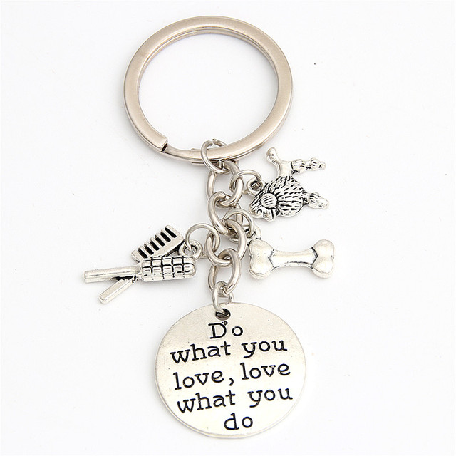 1pc Silver Color Poodle Charms Key Chains For Dog Lover Paw Print Pet Groomer Keyring Do What You Love Jewelry E2041