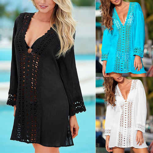 2019 Sexy Solid Hollow Out Cover Ups Vrouwen Zomer Kant Gehaakte Bikini Cover Up Badmode badmode Badpak Strand Jurk tops