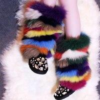 Горячие Для Женщин Multi цвет меха лисы теплые боты до середины голени на толстой реального Фокс волос дамы ручной работы теплый плюш скольжен