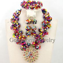 Multicolor Beads Crystal Choker Necklace Set Popular Party Beaded Nigerian Wedding Jewelry Set Free Shipping WB385