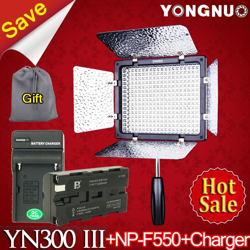 5500K Yongnuo YN-300 III CRI95 LED Video Light NP-F550 Battery & Charger DSLR Camera Photography Photo Studio lighting Lamp