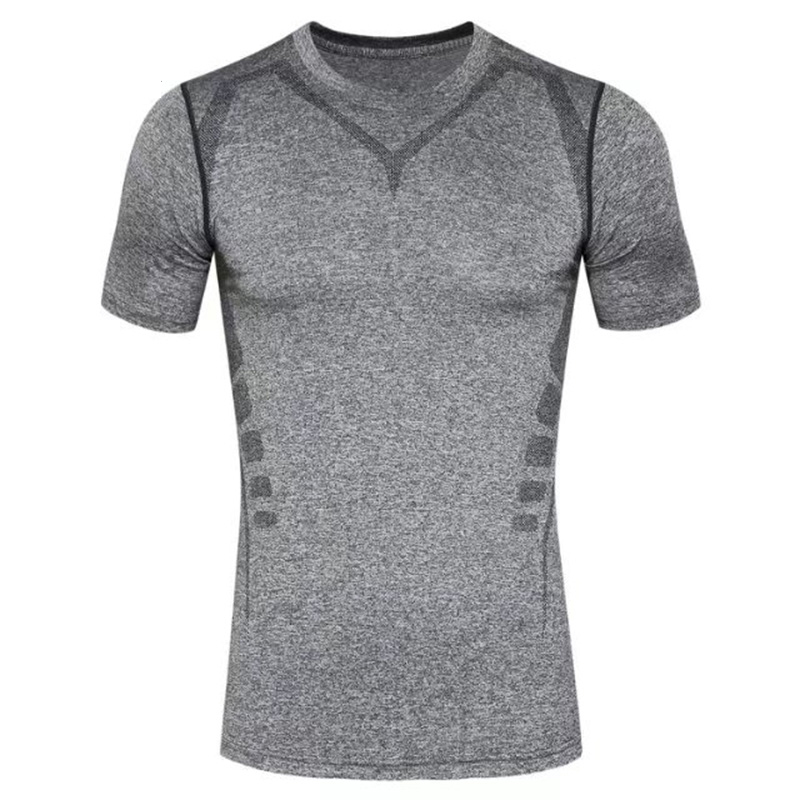 Men Sportswear T shirt Pro GYM Print Quick Dry Short Sleeve Compression Running T Shirt for