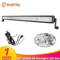 Partol 400W 42 5D LED Light Bar Work Light for Car ATV SUV Auto LED Bar 12V 4X4 OffRoad Driving Light Bar Combo Beam