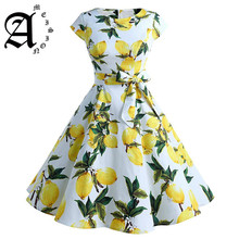 Ameision 2019 Summer Vintage Dresses Lemon Print Floral Knee-Length A Line O Neck 1950s Style Elegant Party Dress Sashes