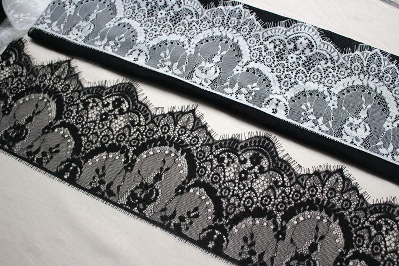 Image 3 - Width 16cm White Black Floral Embroidered Eyelash Lace Ribbon for Garment Decoration and DIY Craft Lace Trimming 3meters/lot-in Lace from Home & Garden