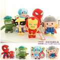 1PCS18CM Superheroes Cartoon Style Super Hero Plush Doll The Avengers Spider Man Batman Iron Man Captain America Hulk Animation