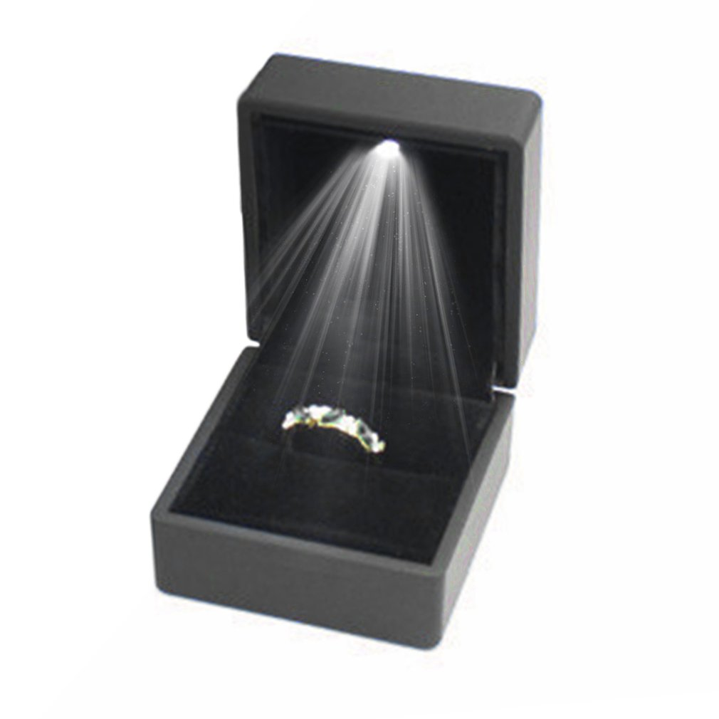 GENBOLI Top Grade LED Lighted Earring Ring Gift Box Wedding Ring Display Jewelry Organizer Jewelry Box Casket For Decortion