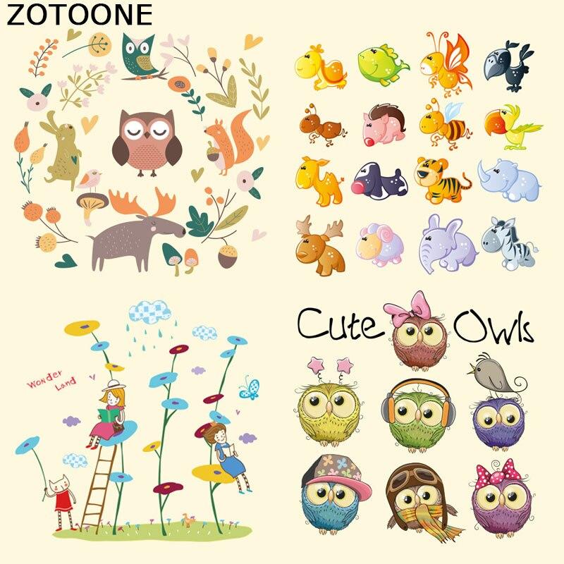 ZOTOONE Cute Cartoon Owl Patches Iron on Heat Transfer for Kid Clothing DIY Stripes Applique T-shirt Custom Sticker E