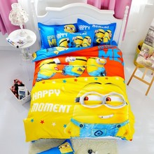 Bedding Sets Children Cartoon Small Yellow PeopleTwin Full Queen Size 3/4pcs Cotton Pillow Bed Line Quilt Set Cover Duver Sheets